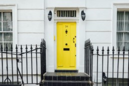 home in england with yellow door