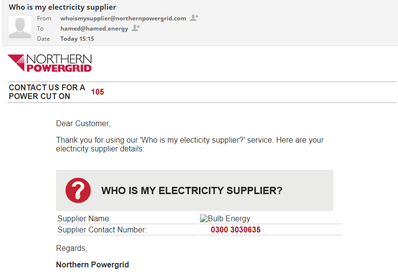 whoismysupplier northernpowergrid bulbenergy